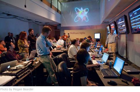 Stephen Wolfram explaining the information on the screen.