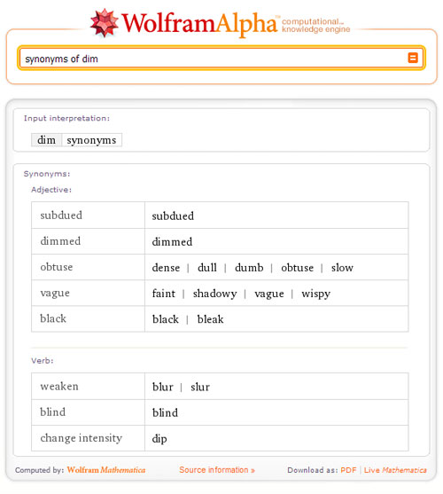 """synonyms of dim"""