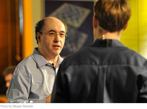 Homework Day host Eric Hansen (right) interviews Wolfram|Alpha creator Stephen Wolfram