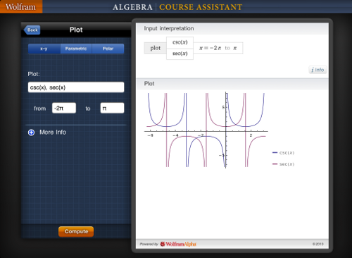 Wolfram Algebra Course Assistant for iPad