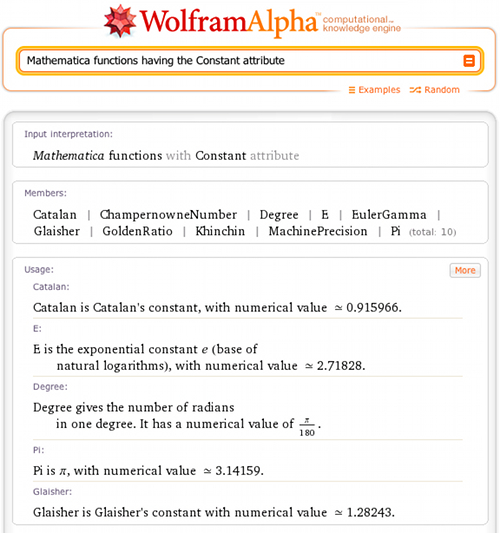 Mathematica functions having the Constant attribute