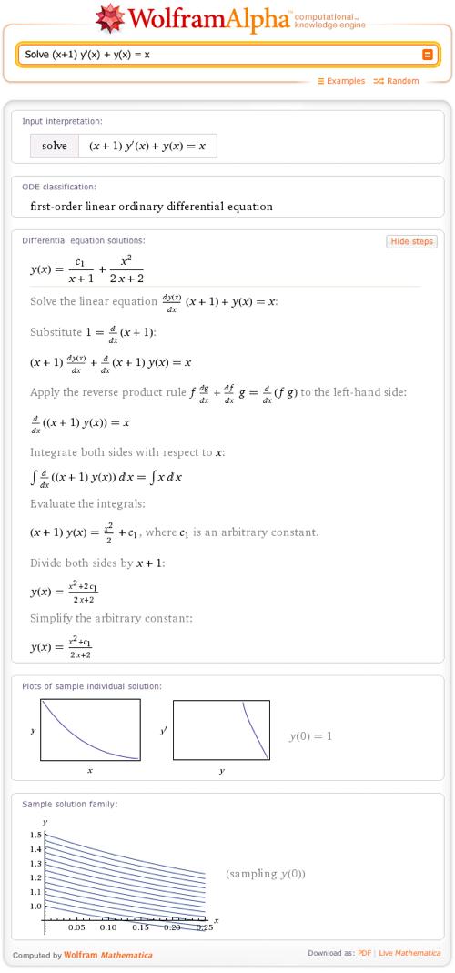 Solve (x+1) y'(x) + y(x) = x