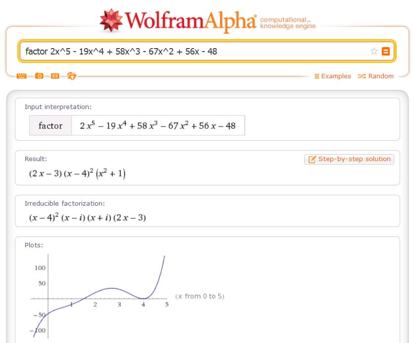factor 2x^5 - 19x^4 + 58x^3 - 67x^2 + 56x - 48