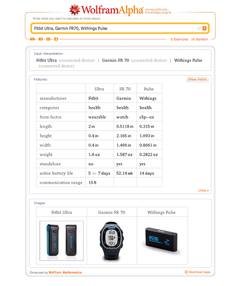 Comparing devices in Wolfram|Alpha