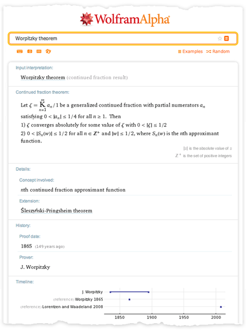 wolfram alpha output Worpitzky theorem