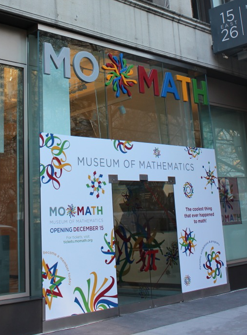 MoMath entrance with logo