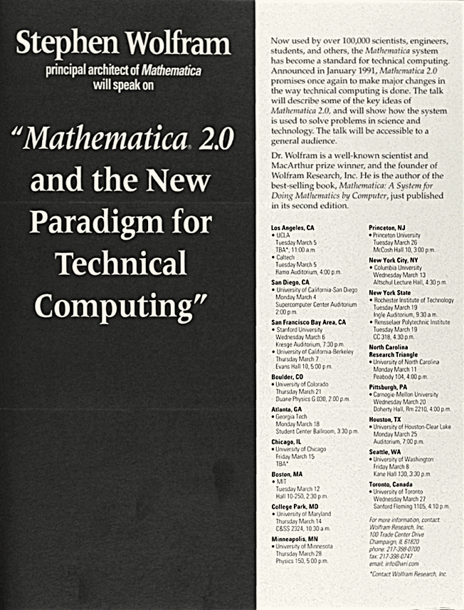 Mathematica 2.0 US Tour Schedule
