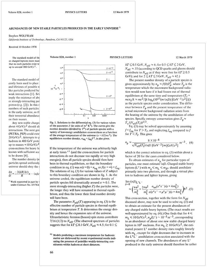 The life and times of Stephen Wolfram. 1977: A first adventure in cosmology...