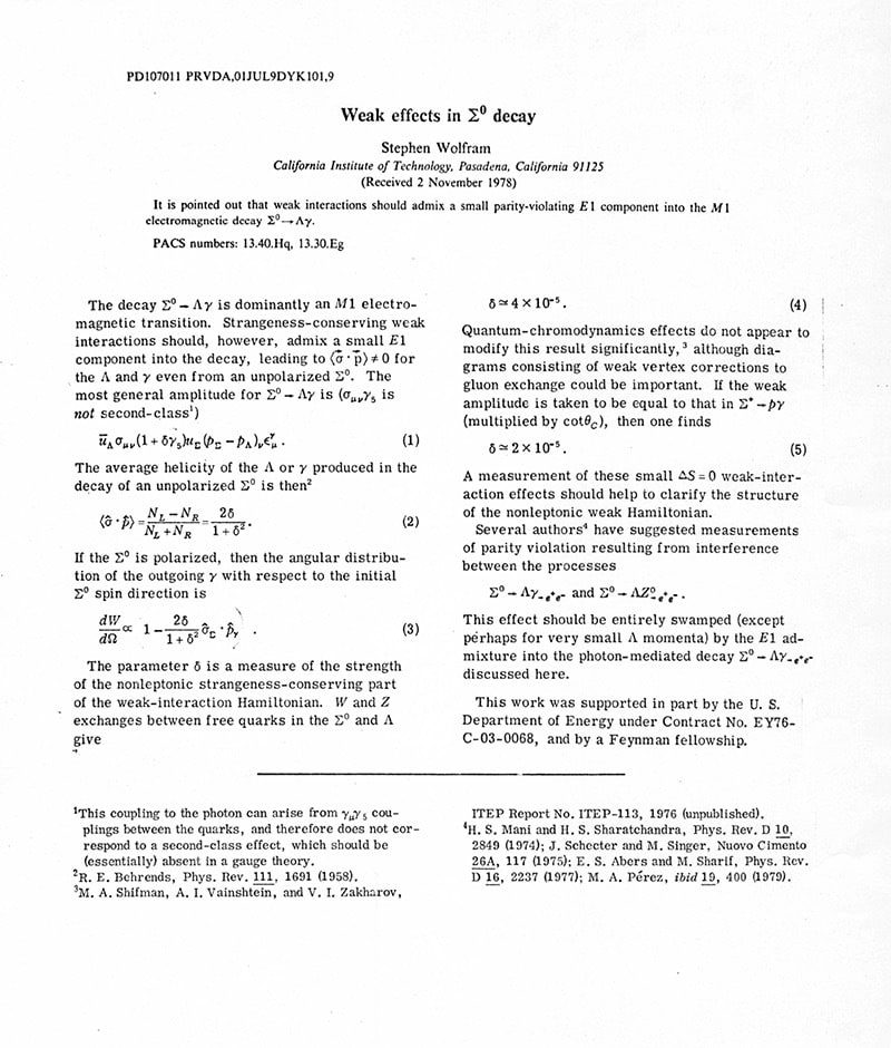 The life and times of Stephen Wolfram. 1979: A very short paper, just for once...