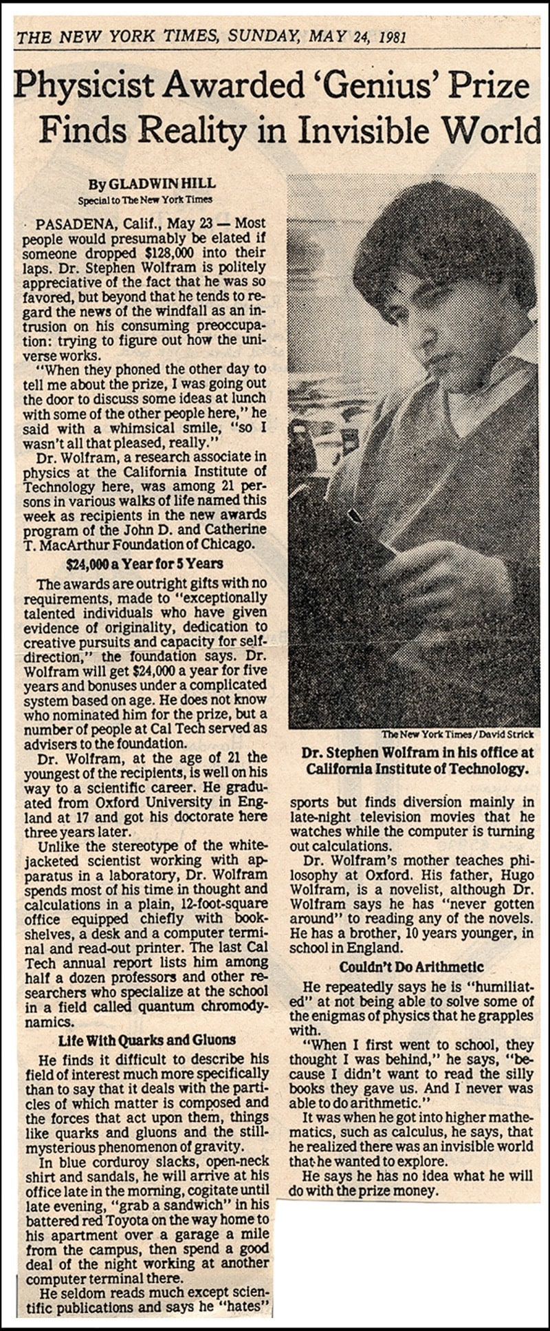 he life and times of Stephen Wolfram. 1981: A little media adventure...
