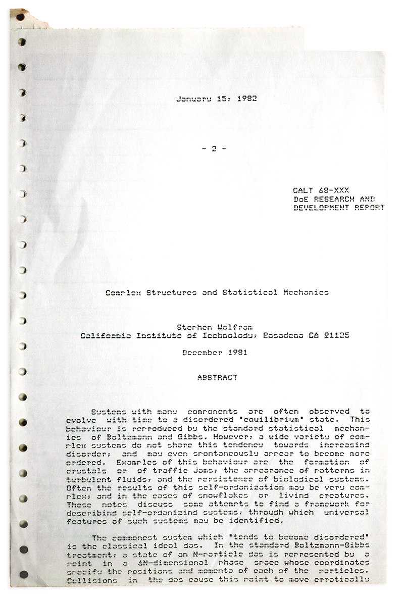 """The life and times of Stephen Wolfram. 1981: Beginning to write about """"complex structures"""" (with a word processor)..."""