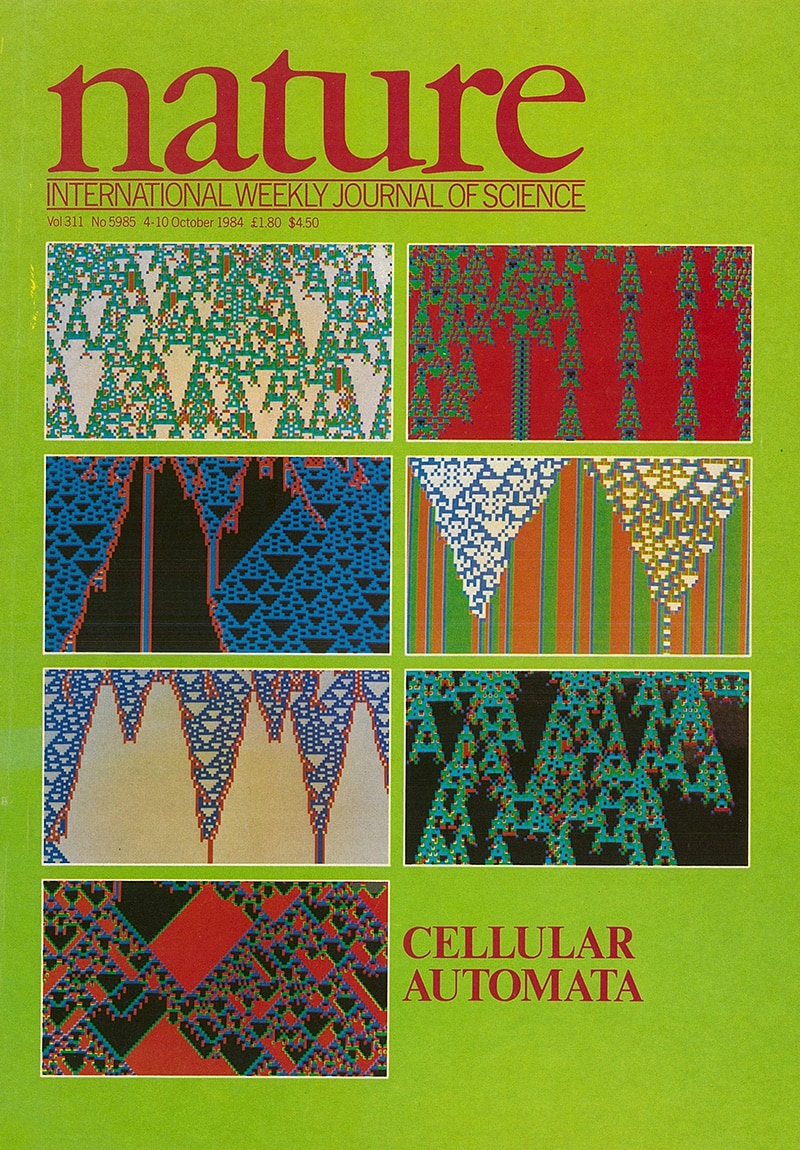 The life and times of Stephen Wolfram. 1984: Cellular automata grace the cover of Nature magazine...