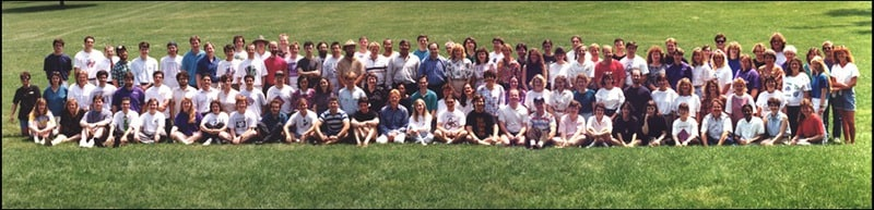 The life and times of Stephen Wolfram. 1993: Posing with staff on Mathematica's fifth anniversary...