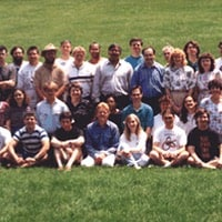 1993: Posing with staff on Mathematica's fifth anniversary…