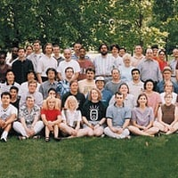 1998: Posing with staff on Mathematica's 10th anniversary…