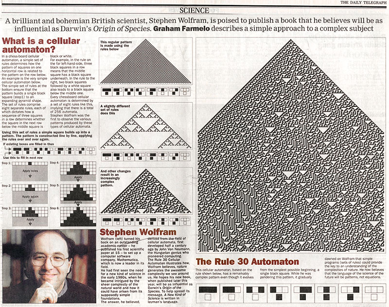 The life and times of Stephen Wolfram. 1999: Rule 30 fills a page of a broadsheet newspaper...