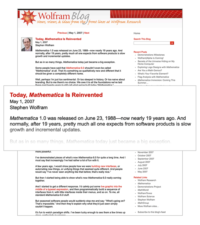 The life and times of Stephen Wolfram. 2007: Beginning to blog...