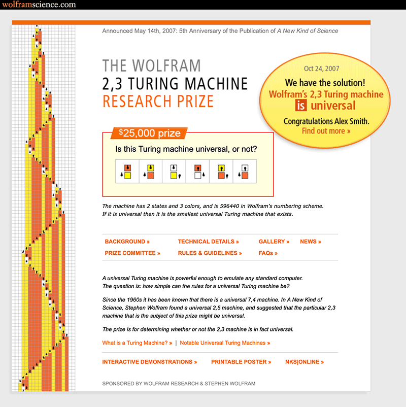 The life and times of Stephen Wolfram. 2007: A bounty is put—and claimed—on the simplest universal Turing machine