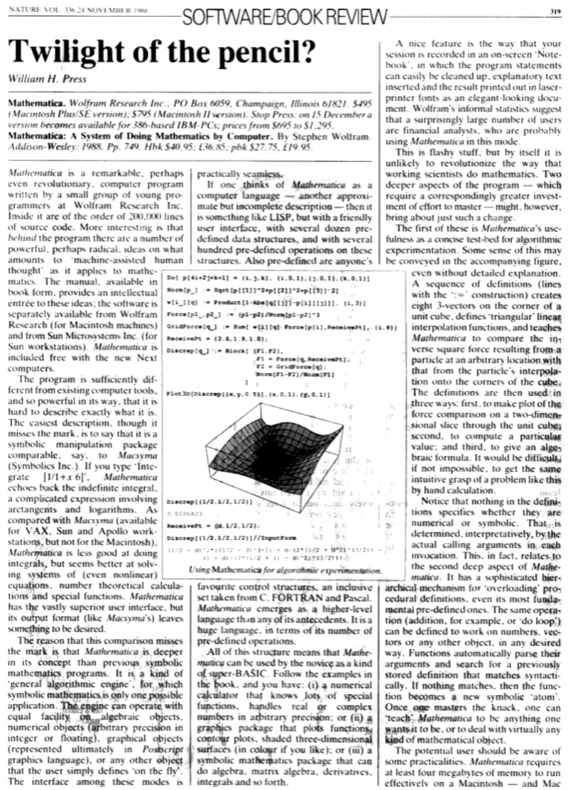 The life and times of Stephen Wolfram. June 24, 1988: The day after: Mathematica is a hit...