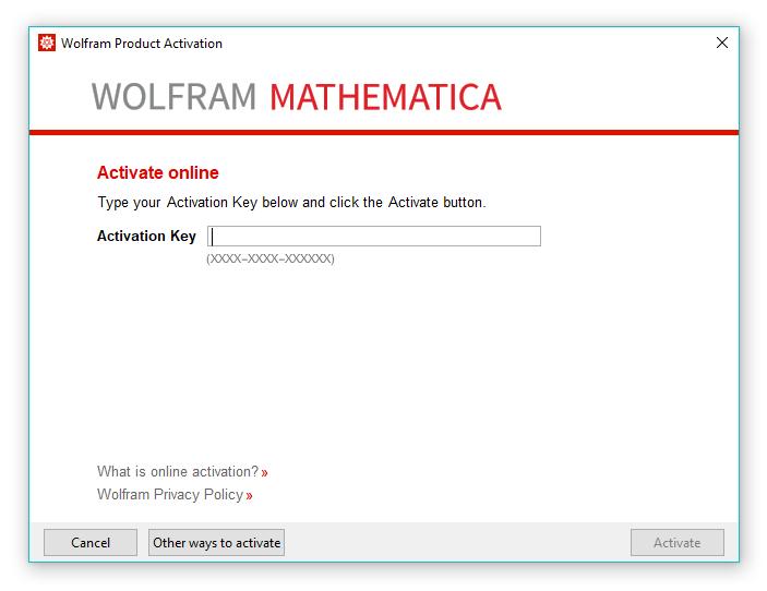 Mathematica Activation Window