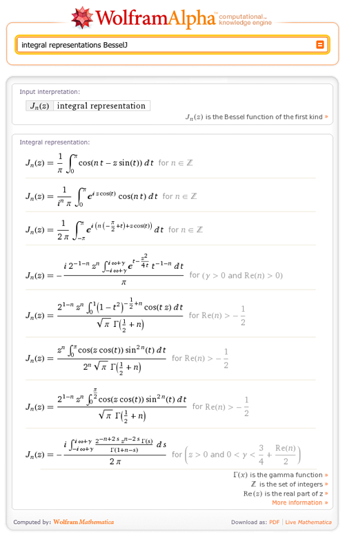 integral representations for BesselJ