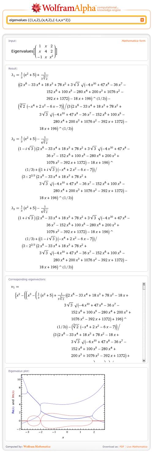 eigenvalues {{1,x,2},{x,4,2},{-1,x,x^2}}