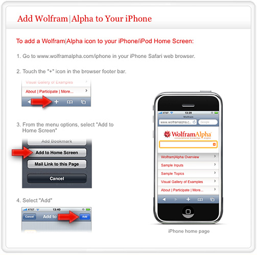 Wolfram|Alpha Mobile Page of iPhone Setup