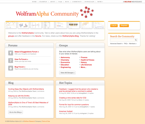The new Wolfram|Alpha Community site