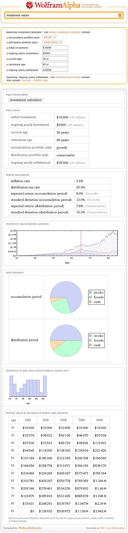Calculating your retirement investments in Wolfram|Alpha