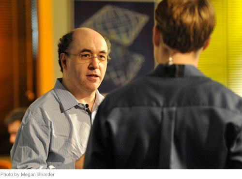 Homework Day host Eric Hansen (right) interviews Wolfram|Alpha creator Stephen Wolfram