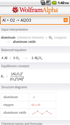 Solving a chemical equation with the Wolfram|Alpha App for Android