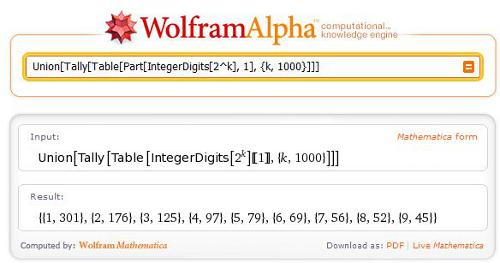 Union[Tally[Table[Part[IntegerDigits[2^k], 1], {k, 1000}]]]