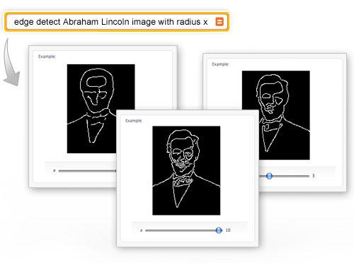 Edge detect Abraham Lincoln image with radius x