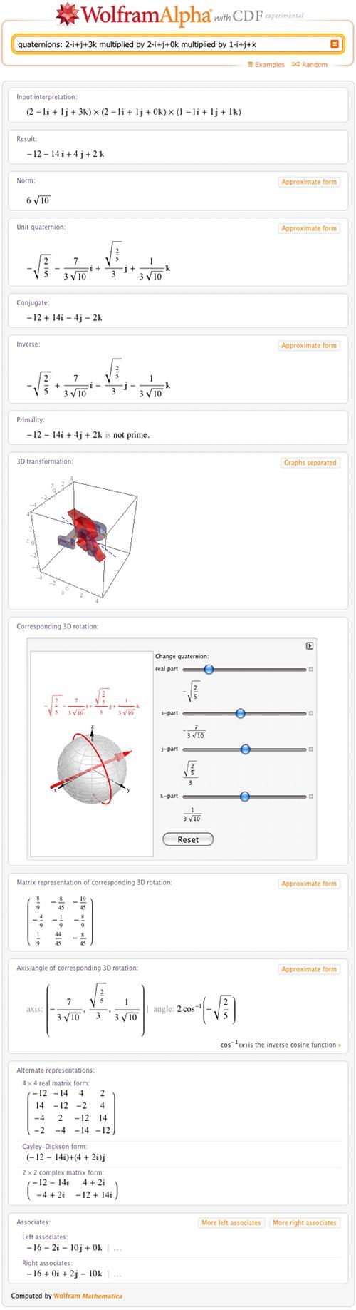 quaternions: 2-i+j+3k multiplied by 2-i+j+0k multiplied by 1-i+j+k