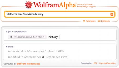 Mathematica Pi revision history