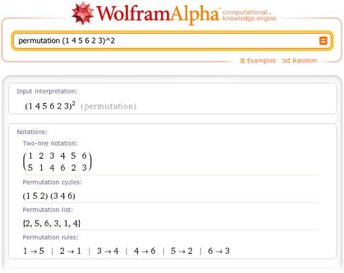 permutation (1 4 5 6 2 3)^2
