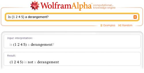 Is (1 2 4 5) a derangement?