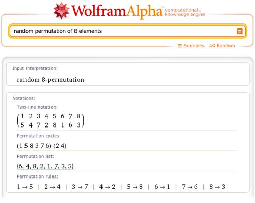 random permutation of 8 elements