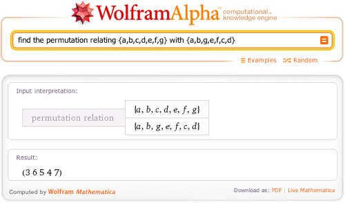 find the permutation relating {a,b,c,d,e,f,g} with {a,b,g,e,f,c,d}