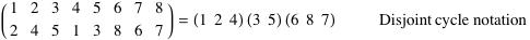 Permutation written in disjoint cycle notation