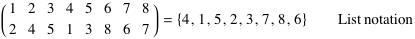 Permutation written in list notation