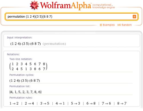 permutation (1 2 4)(3 5)(6 8 7)