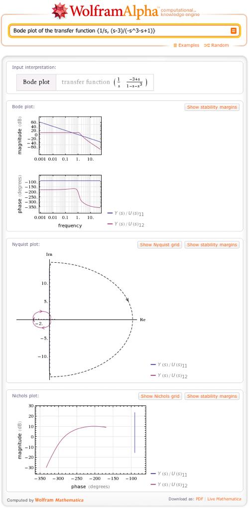 Bode plot of the transfer function {1/s, (s-3)/(-s^3-s+1)}