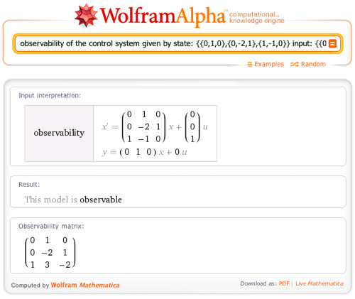 observability of the control system given by state: {{0,1,0},{0,-2,1},{1,-1,0}} input: {{0},{0},{1}} output: {{0,1,0}}