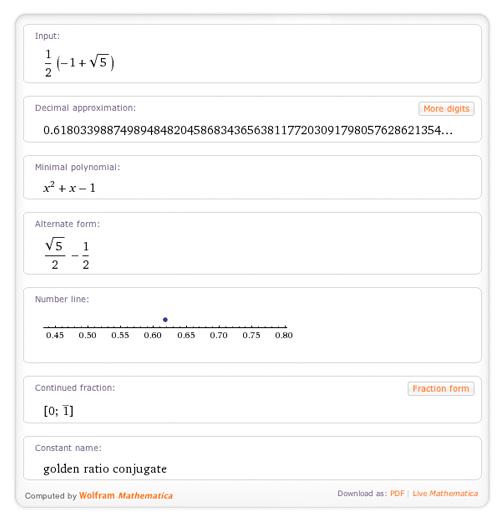 1/2 (-1+sqrt(5))