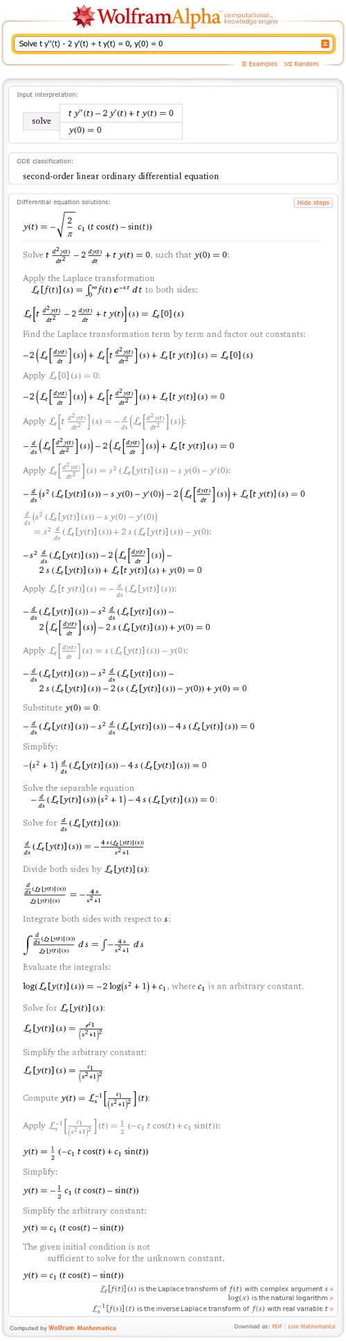 Solve t y''(t) - 2 y'(t) + t y(t) = 0, y(0) = 0