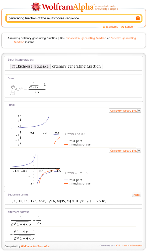 Generating function of the multichoose sequence
