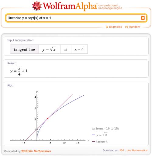 linearize y = sqrt[x] at x = 4