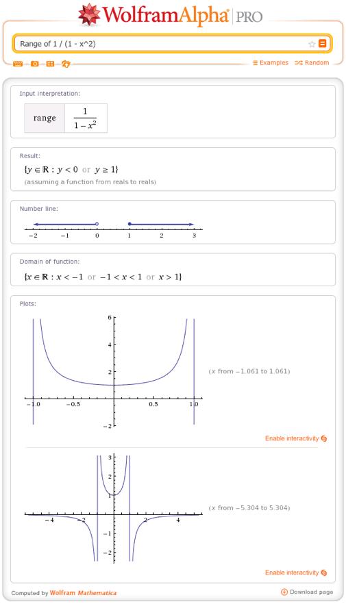 Range of 1 / (1 - x^2)
