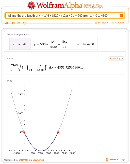 tell me the arc length of y = x^2 / 8820 - (10x) / 21 + 500 from x = 0 to 4200